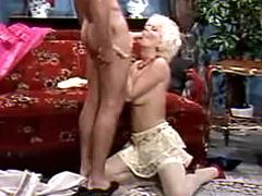 Blonde milf sucks cock