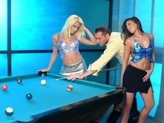 Seductively sultry whores engaging in threesome orgy session on pool table