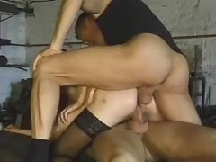 Gorgeous blondes lusftully licking and sucking in gangbang sex galore