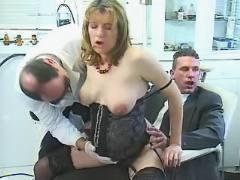 Pregnant girl sucks cocks and fucks