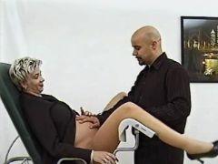 Blonde pregnant mature seduces man