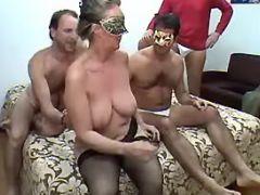 Lusty granny prefers numerous cocks