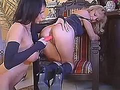 Lezzie pleases her friend w dildo