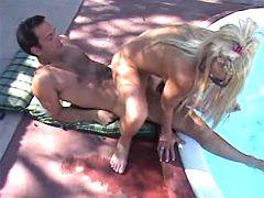 Pretty blonde milf enjoys fantastic pool sex