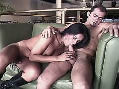 Brunette shemale and guy suck cocks