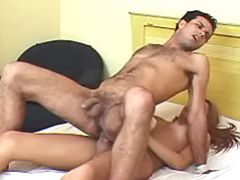 Shemale fucks hairy males asshole