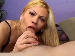 Gorgeous blonde shemale making oral