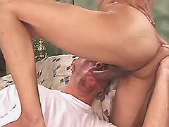Bronzed tranny enjoys oral with boy