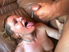 Mature gets lavish cumload in mouth