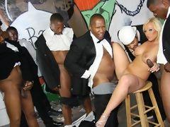 Interracial gangbang in the street! 1 white girl - 10 black monster cocks!