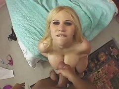 Blond fat sweetie with big boobs gets cumload