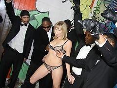 Street interracial gangbang! 1 white girl - 10 black monster cocks! Extreme bukkake