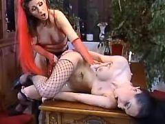 Lesbian dildos girlfriend on table