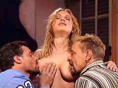 Sweet blond mama trying to satisfy two lewd studs