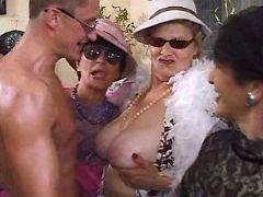 Old vixens enjoy males striptease
