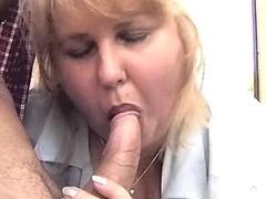 Chubby housewife sucks cock outdoor