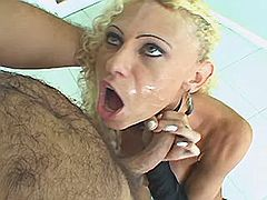 Tempting shemale gets sperm shower