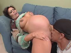 Pregnant mature licked and sucks