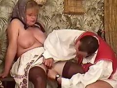 Plump ukrainian granny spoils man