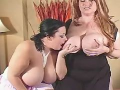 Chubby lesbians play with huge tits