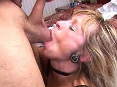 Blond mature chick gets throat fucked and jizzed