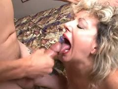 Curly old bitch gets cum in mouth
