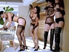 Three mistresses spank poor chick