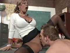 Nice mature teacher licked on table