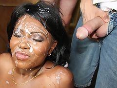 Hot black girl gets face covered in redneck cum