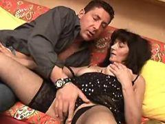 Mature seduces man and sucks cock