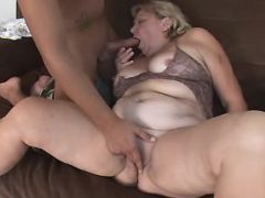 Lusty old BBW sucks appetizing cock