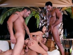 Three perfect beauties getting group fucked