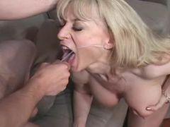 Beautiful mature gets cum in mouth