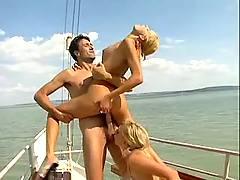 Girls swap cum on yacht