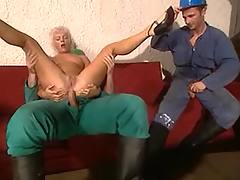 Workers jizz on blonde