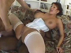 Massive titted hardcore slut gets heavy interracial gangbang thrill
