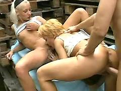Two girls in store orgy