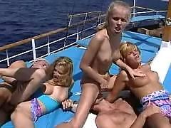 Sunburnt girls on yacht