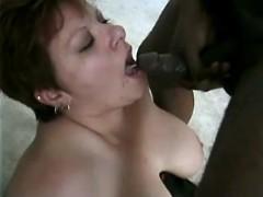 Plump busty mom eats cum