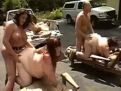 Fat road sluts gangbang