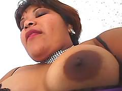 Busty fatty plays w dildo