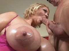 Busty mature plays w cock
