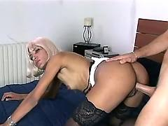Guy drills sexy blonde