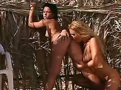 Lesbians enjoy waterfall