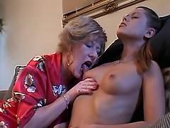 Granny seduces beauty