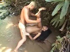 Wild sex w TS in jungle