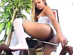Hot ts shows off on chair