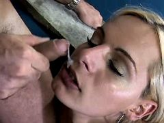 Blonde tranny gets facial